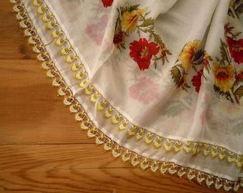 white cotton scarf, yellow red flower, crochet beaded trim, turkish scarf oya