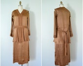 1930s copper silk flapper dress // antique pattern makers seamstress shell