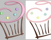 Cupcake Embroidery Design for 4x4 and 5x7 hoop - Several formats included - Instant Download