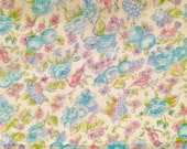 Fabric, Voile, Sewing, Sheer fabric, 4.5yrds., Material, Yard Goods, Fabric,  60s-70s, blue, birds fruits,and flowers