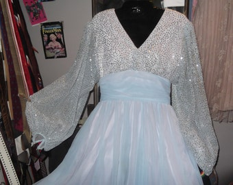 1940s Style Ginger Rogers Gown w Sparkles, sz S