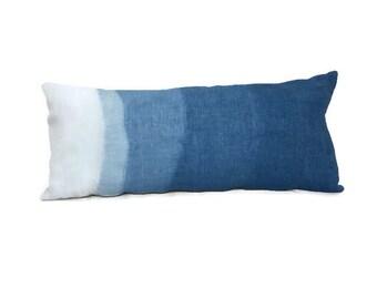 Hand Dyed Linen Lumbar Pillow Cover