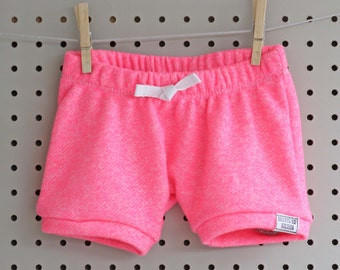 Baby Shorts - Baby Girl Shorts - Baby Sweatpants  - Baby Shorties - Baby Joggers - Neon Hot Pink
