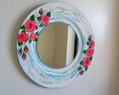 Shabby Chic mirror, Decorative wall mirror, Round mirror, Country decor, Bohemian, boho chic wall art, bedroom wall mirror, English cottage