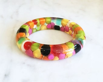 Vintage 60s Clear Lucite Candy Polka Dot Bracelet Pom Pom Injected Bangle