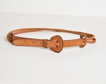 Vintage 90s Suede Belt / 1990s Thin Brown Buckle Belt
