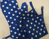 Blue Polka Dots Print Contrast Blue Oven Mitt and Pot Holders