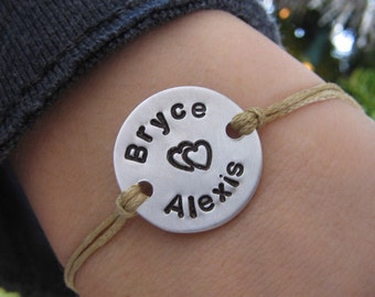 Couples bracelet - his and her bracelet - cord bracelet - handstamped bracelet - personalized bracelet - name bracelet - saying bracelet