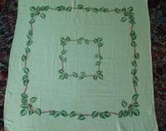 Vintage 40s 1940s 50s 1950s California Hand Prints Tablecloth Yellow Green Ivy Vine Square 34X35