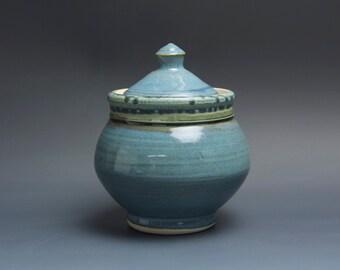 Handmade pottery sugar bowl storage jar tea caddy blue/green 3470