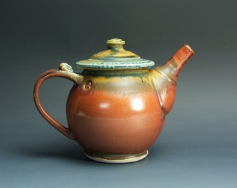 Stoneware teapot, pottery tea pot, ceramic teapot brick red 24 oz 3219