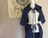 Navy Blue Satin Brocade Tie On Bustle Skirt and Matching Hooded Capelette with scalloped edging and blue satin cording with tassels -Upcycle