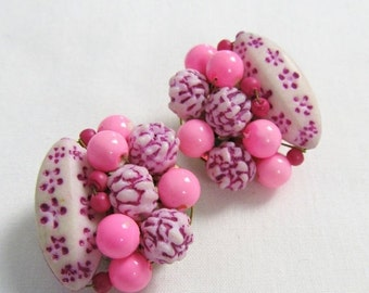 50% OFF SALE Vintage 1960's Hot Pink Beaded Clip-On Earring Set