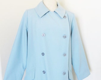 Vintage 1960's Blue Trench Coat / Size Large Double Breasted Peacoat Lanson All Weather Swing Coat