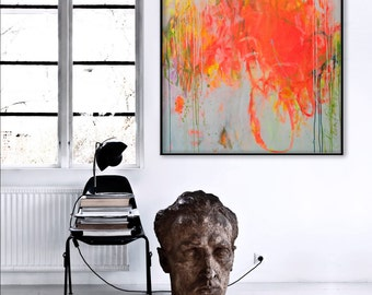 abstract painting bold floral hot pink neon orange painting - laugh in the garden - modern art Elena