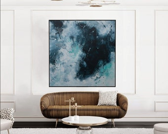 Original Abstract Painting blue seascape Painting modern art -one perfect tide  - Elena Petrova