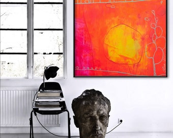 Large Abstract Painting acrylic Painting -wonderful summer- neon pink orange Contemporary art 36x36 Elena