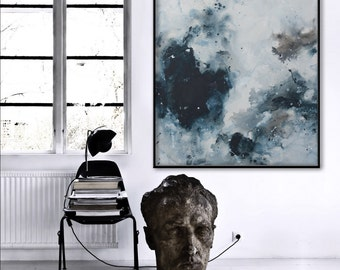 large vertical painting seascape painting minimalist 'shadows in the sea' Elena
