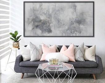 original abstract painting horizontal grey white painting wall art 'daydream' Elena Petrova