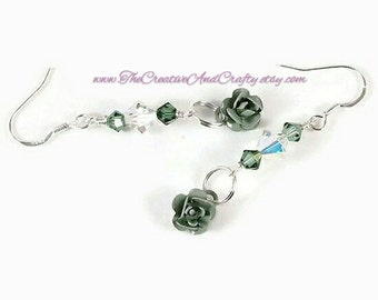Rose Earrings, Crystal Rose Earrings, Sterling Jewelry, Rose Dangle Earrings, Gift for Her, Stocking Stuffer