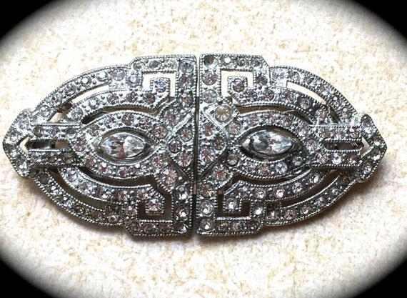 Large Brooch Clip-Wedding Sash pin-Rhinestone Brooch- Vintage Designer Jewelry- Estate Brooch- Clear Rhinestone Brooch Pin Clip- Coro Pin