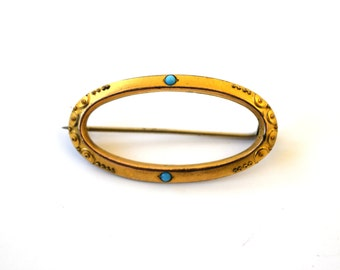 Antique Victorian Brooch With Etruscan Details and Turquoise Glass c.1880s