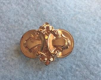 Victorian Gold Holloware Brooch Buckle Motif