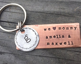 Mom Keychain / Grandma Keychain / Custom Keychain for Mother's Day in Stamped Copper & Aluminum