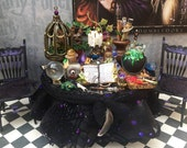 Dollhouse miniature witch wizard table and chairs set layaway available