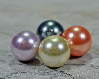 Glass pearls, pastel, 2 sizes, #512
