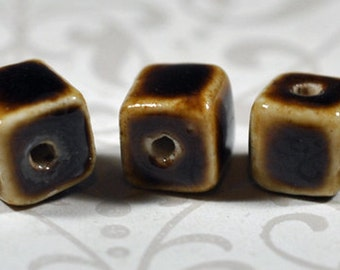 Ceramic brown and tan squares, 8mm, #839
