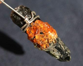 Smokey Quartz with Orange Spessertite Garnet Crystals Pendant Wrapped in Argentium Silver