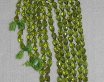Peridot, Peridot Pear Bead, Faceted Pear Bead,  Semi Precious, Natural Stone, Gemstone Bead, 10 Beads, 8-9mm