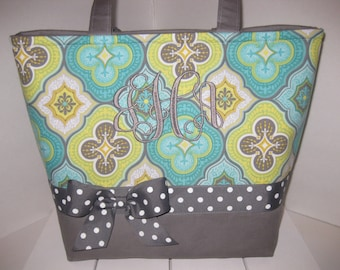 Mint Grey White Polka Dot Diaper Bag / Tote / Purse- Personalization Available