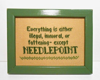 Vintage Wall Decoration, Counted Cross Stitch, Cross Stitch, Needlepoint, Picture Frame, Green Frame