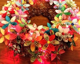 3d origami flower wreath with LED lights 16""