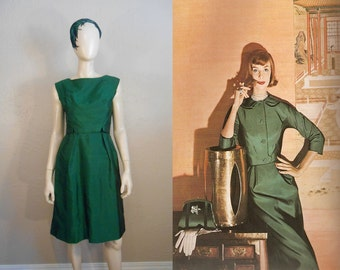 Calling Park Avenue 6845 - Vintage 1960s Green Silk Shantung Sheath Wiggle Dress w/Inverted Back Skirt - 4/6
