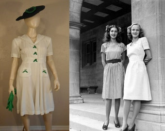 Summertime Jitterbug - Vintage 1940s WW2 White Linen Cotton Dress w/Kelly Green Embroidered Leafs - 2/4