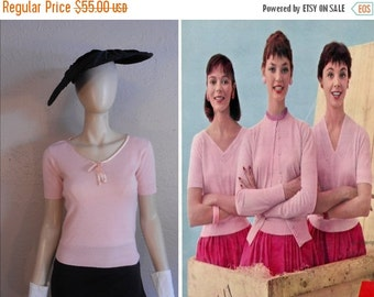 ON SALE 30% OFF Look What Just Arrived - Vintage 1950s Bubblegum Pink Orlon Sweater Top - S