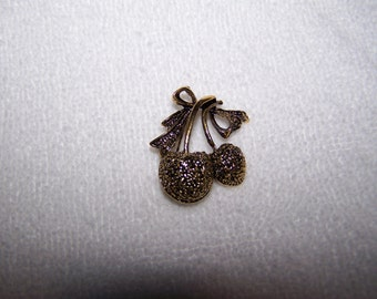 Gold Marcasite Cherries Bow Brooch