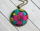 Colorful Boho Necklace With Fabric, Tropical Jewelry, Hippie Jewelry, Pink and Teal Necklace, Flower Pendant, Cute, Eclectic