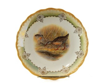Antique Decorative Wall Plate with Marsh Birds, Vintage Bird Decor, Gift for Bird Lover