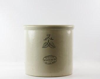 Vintage Stoneware Crock, Red Wing Union Stoneware, Minnesota Stoneware, Two Gallon Crock, Elephant Ear, Farmhouse Decor