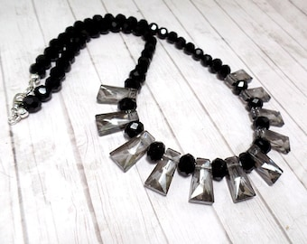 Smokey Grey & Black Fan Necklace - Statement Necklace