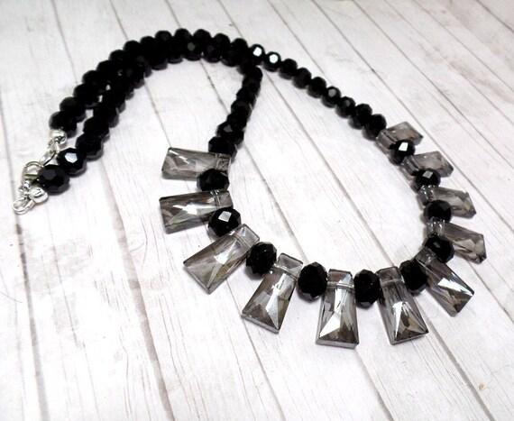 Smokey Grey & Black Fan Necklace - Statement Necklace - Free US Shipping