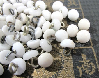 White Glass Dress Shoe Boot Buttons VINTAGE Buttons One Hundred (100) White Glass Antique Fashion Jewelry Doll Supplies (J105)