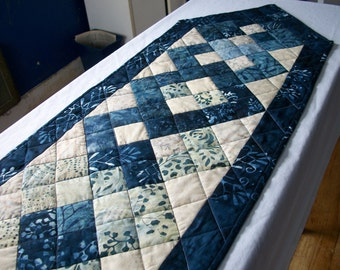 Blue Batik Table Runner Interlocking Squares Cheerful Winter Handmade Quilted