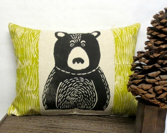 Bear and Wood Print Pillow - Woodland Bear and Wood Grain Print Pillow