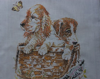 vintage finished stitchery, puppies in a basket, childs room decor dog collector Giordano by nParagon  15 by 18 inches.