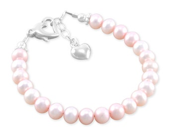 Pink Pearl Bracelet little girls jewellery heart charm 1st birthday flower girl gift, pastel toddler gifts, baby shower, twin gifts EMMA